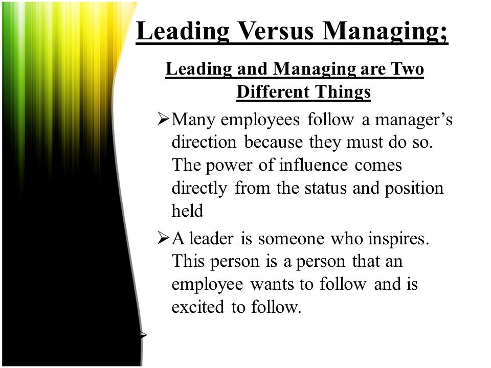 Leading Versus Managing; Leading is Part of the Overall Management Picture Along with planning, organizing and controlling, leading serves as one of t