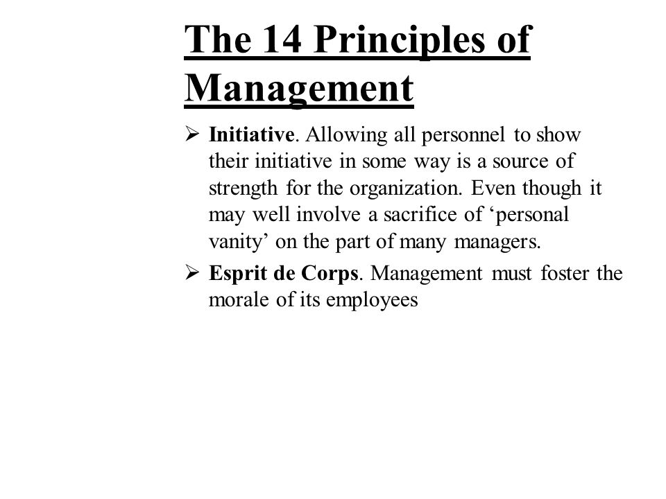 The 14 Principles of Management  Order. Both material order and social order are necessary. The former minimizes lost time and useless handling of ma