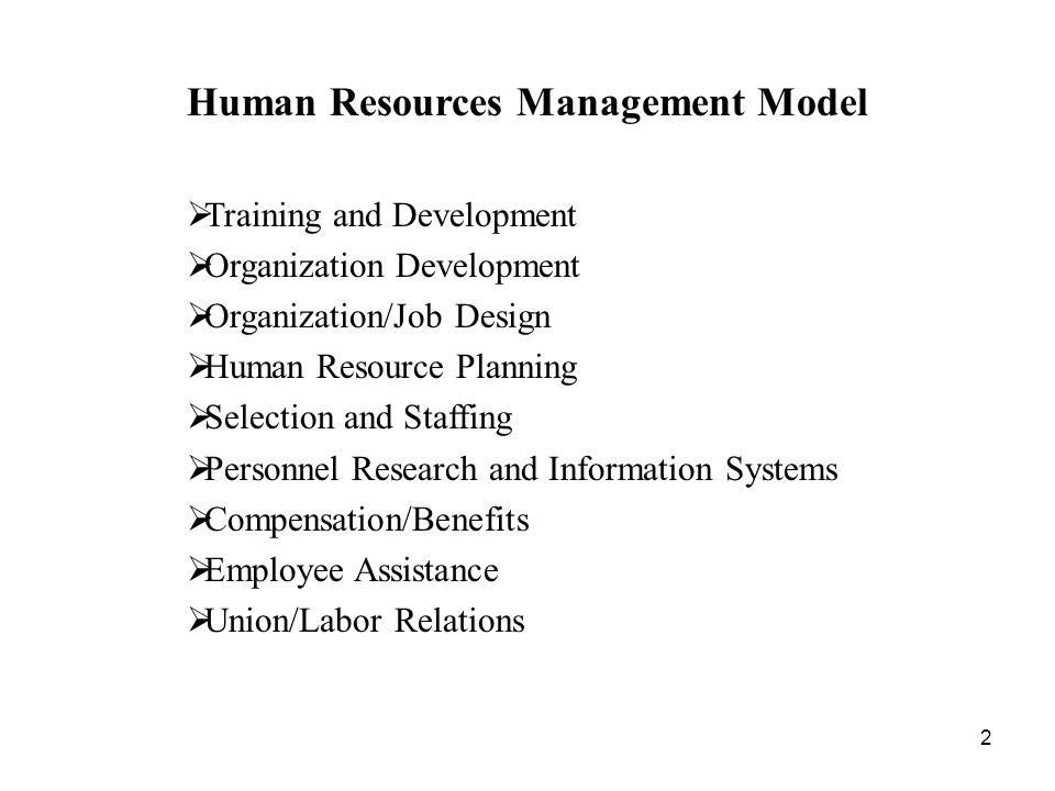 2 Human Resources Management Model  Training and Development  Organization Development  Organization/Job Design  Human Resource Planning  Selection and Staffing  Personnel Research and Information Systems  Compensation/Benefits  Employee Assistance  Union/Labor Relations