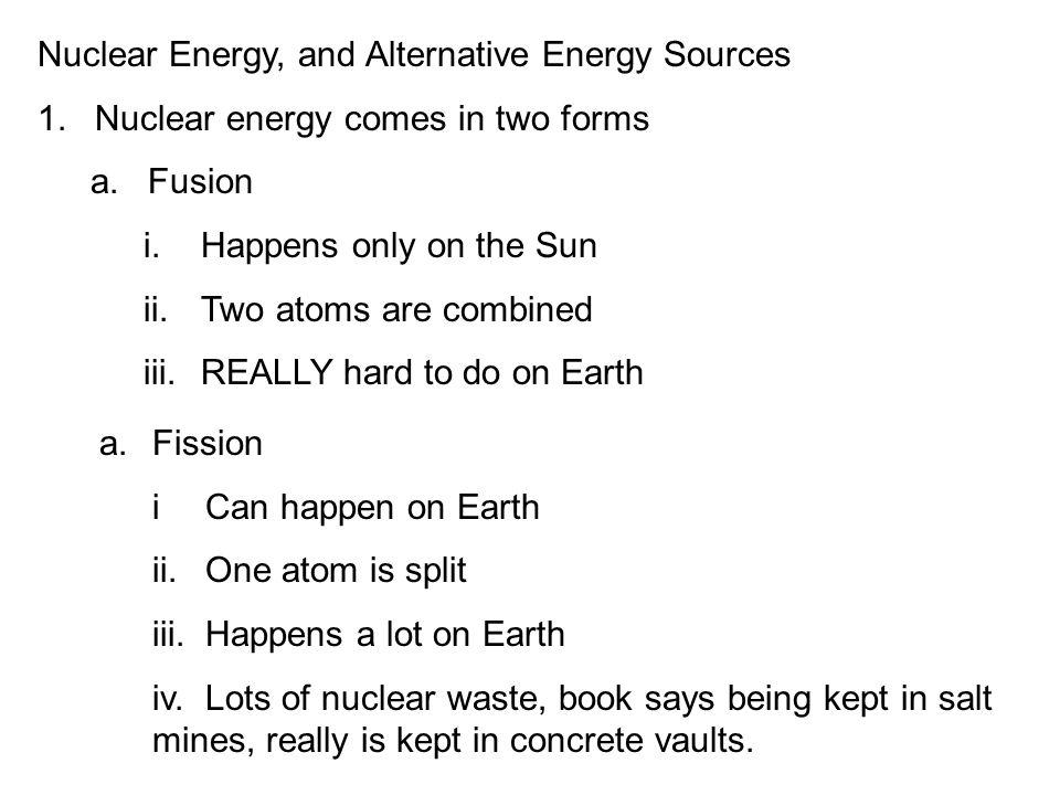 nuclear energy as an alternative source