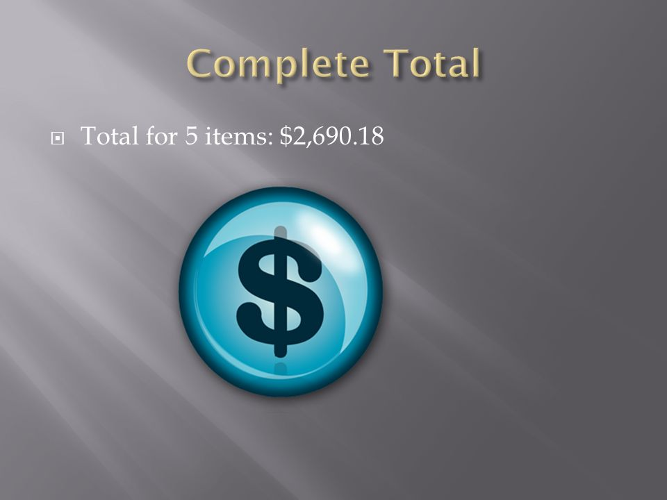  Total for 5 items: $2,690.18
