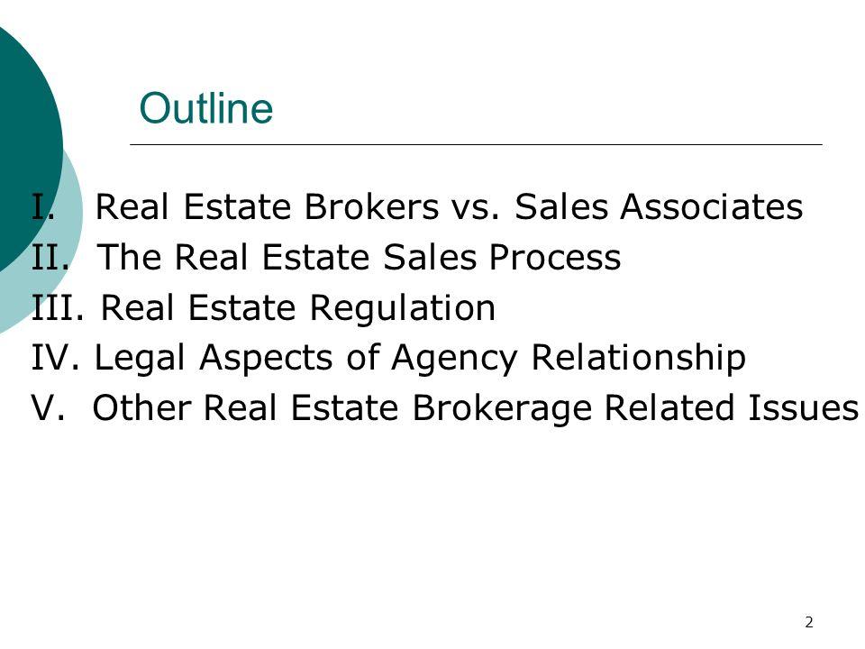 2 Outline I.Real Estate Brokers vs. Sales Associates II.