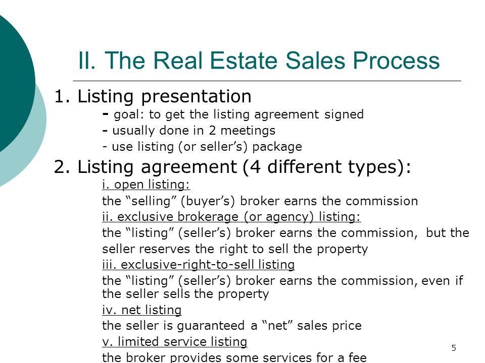 5 II.The Real Estate Sales Process 1.