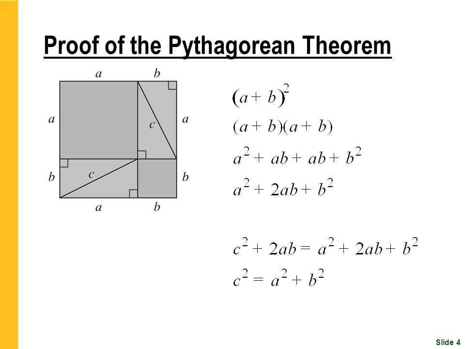 the formula and the definition of the pythagoras theorem Only very recently a trigonometric proof of the pythagorean theorem was given by zimba, many authors thought this was not possible in this note we give other trigonometric proofs of the pythagorean theorem by establishing, geometrically, the half-angle formula $\displaystyle \cos\theta=1-2\sin^2.
