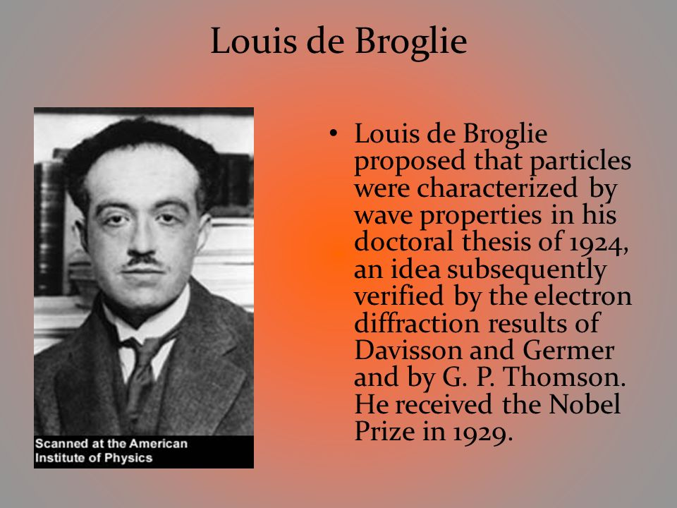 de broglie thesis translation Louis de broglie (in full: in his 1924 thesis, he discovered the wave nature of electrons and suggested that all matter have wave properties he won the 1929 nobel.