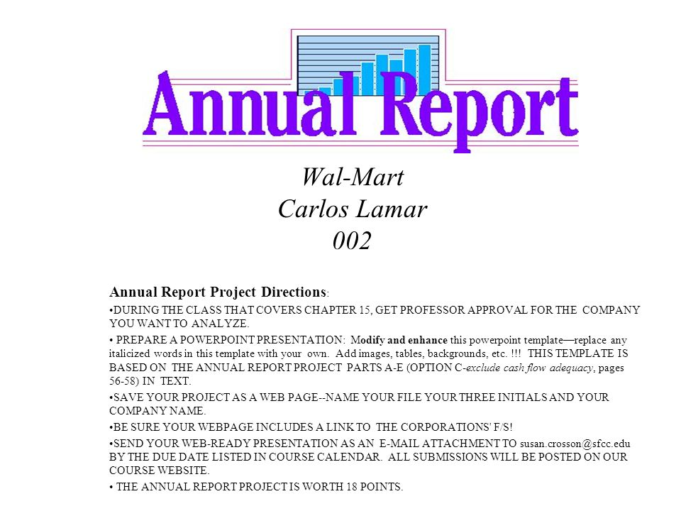 wal-mart carlos lamar 002 annual report project directions, Modern powerpoint