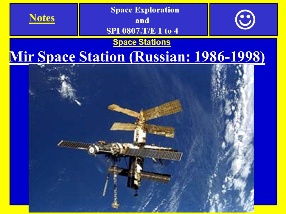 Space Stations Mir Space Station (Russian: ) Notes Space Exploration and SPI 0807.T/E 1 to 4