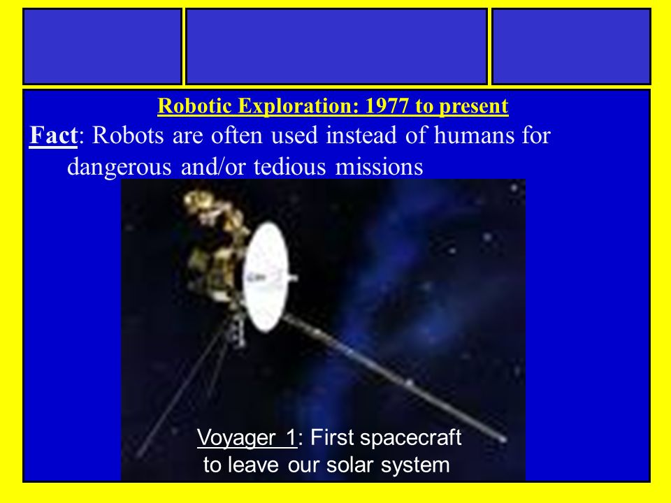Fact: Robots are often used instead of humans for dangerous and/or tedious missions Robotic Exploration: 1977 to present Voyager 1: First spacecraft to leave our solar system