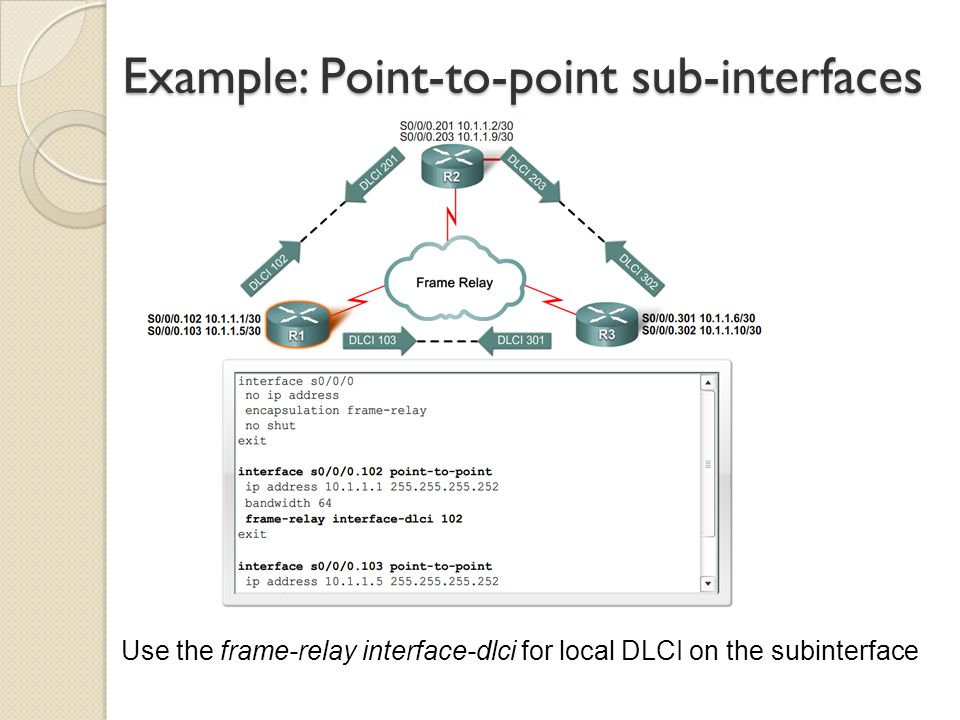 Example: Point-to-point sub-interfaces Use the frame-relay interface-dlci for local DLCI on the subinterface