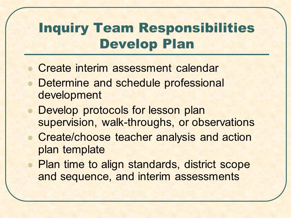 Inquiry Team Responsibilities Develop Plan Create interim assessment calendar Determine and schedule professional development Develop protocols for lesson plan supervision, walk-throughs, or observations Create/choose teacher analysis and action plan template Plan time to align standards, district scope and sequence, and interim assessments