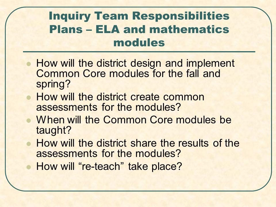 Inquiry Team Responsibilities Plans – ELA and mathematics modules How will the district design and implement Common Core modules for the fall and spring.