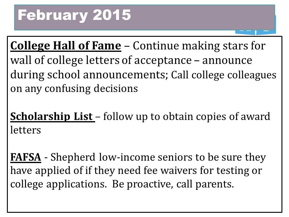 February 2015 College Hall of Fame – Continue making stars for wall of  college letters of