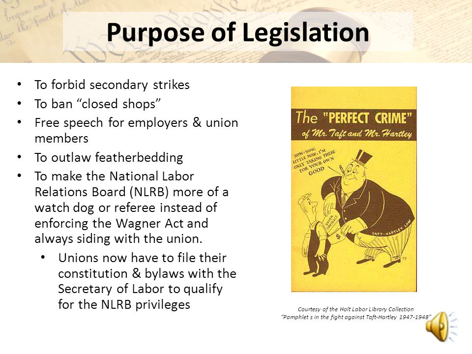 taft hartley act American federation of labor's george meany discusses his stance on the taft-hartley act and the afl's decision to support a political candidate.