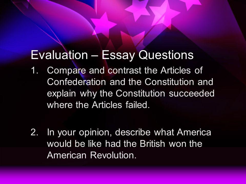 articles of confederation essay prompt