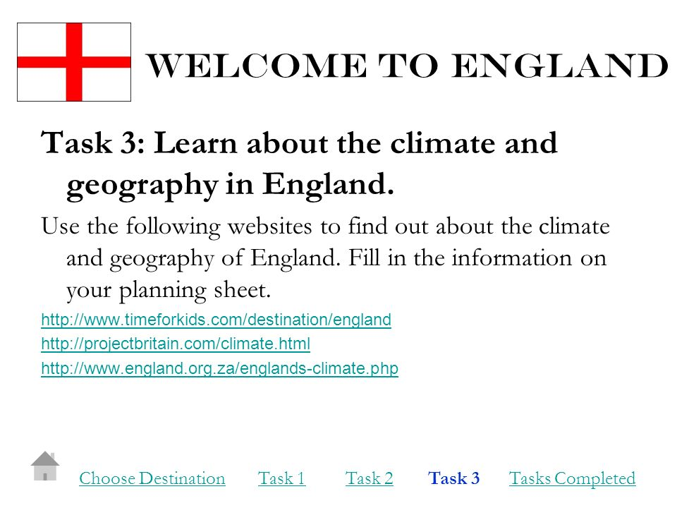 Welcome to england Task 3: Learn about the climate and geography in England.