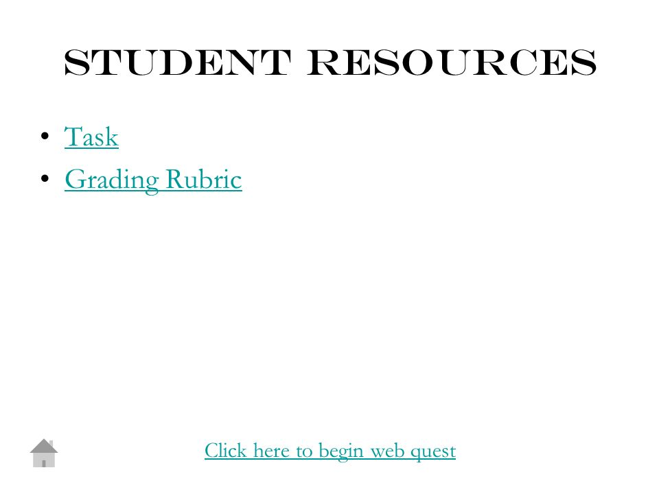 STUDENT RESOURCES Task Grading Rubric Click here to begin web quest