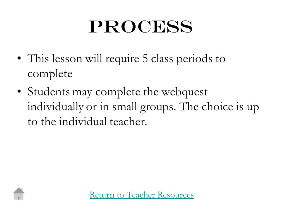 process This lesson will require 5 class periods to complete Students may complete the webquest individually or in small groups.