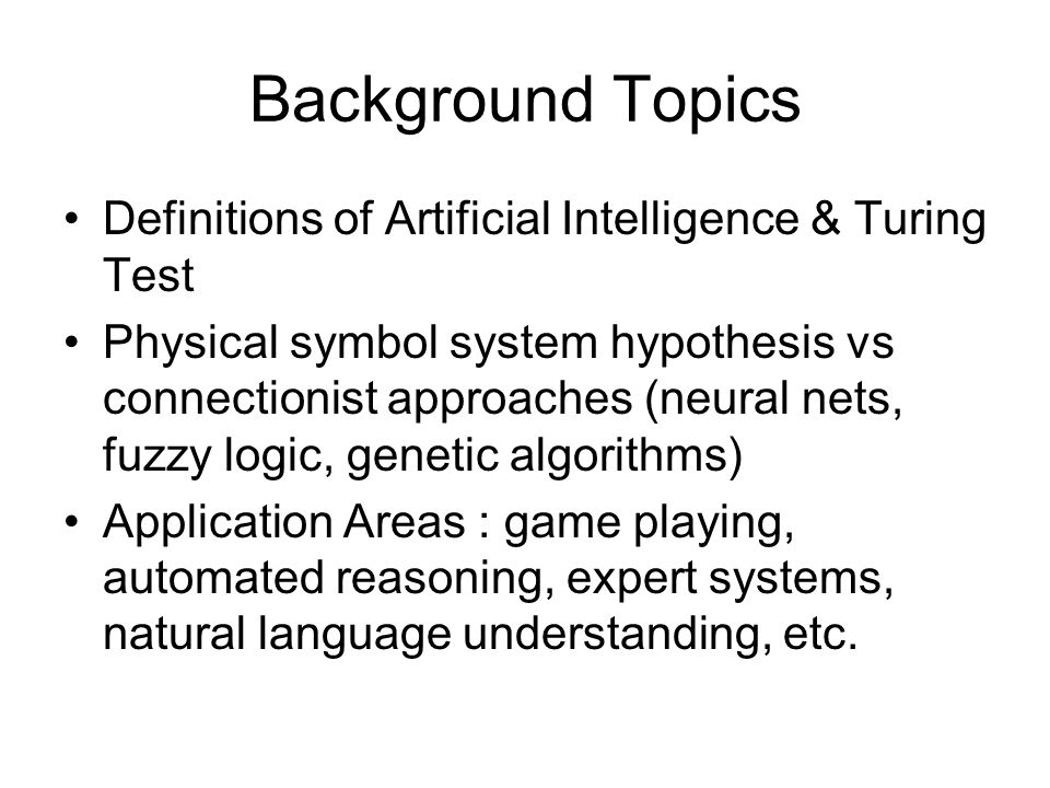 an analysis on artificial intelligence and the turing test The turing test search been focusing on for a long time is the field of artificial intelligence analysis of the turing test i will focus on.