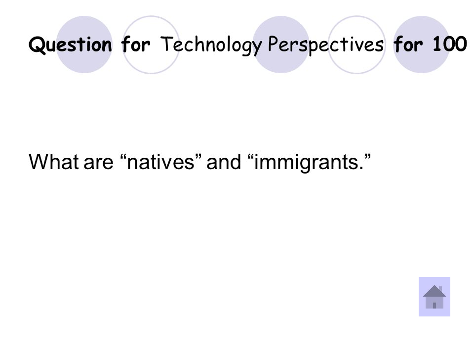 Answer for Technology Perspectives for 100 Question.
