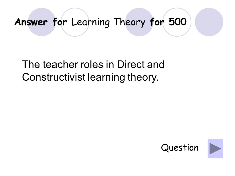 Question for Learning Theory for 400 What is cognitivism