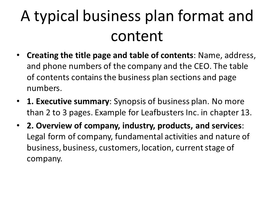 Typical Business Plan
