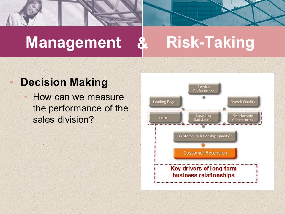 Management Decision Making How can we measure the performance of the sales division? & Risk-Taking