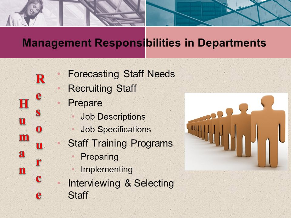 Management Responsibilities in Departments Forecasting Staff Needs Recruiting Staff Prepare Job Descriptions Job Specifications Staff Training Program