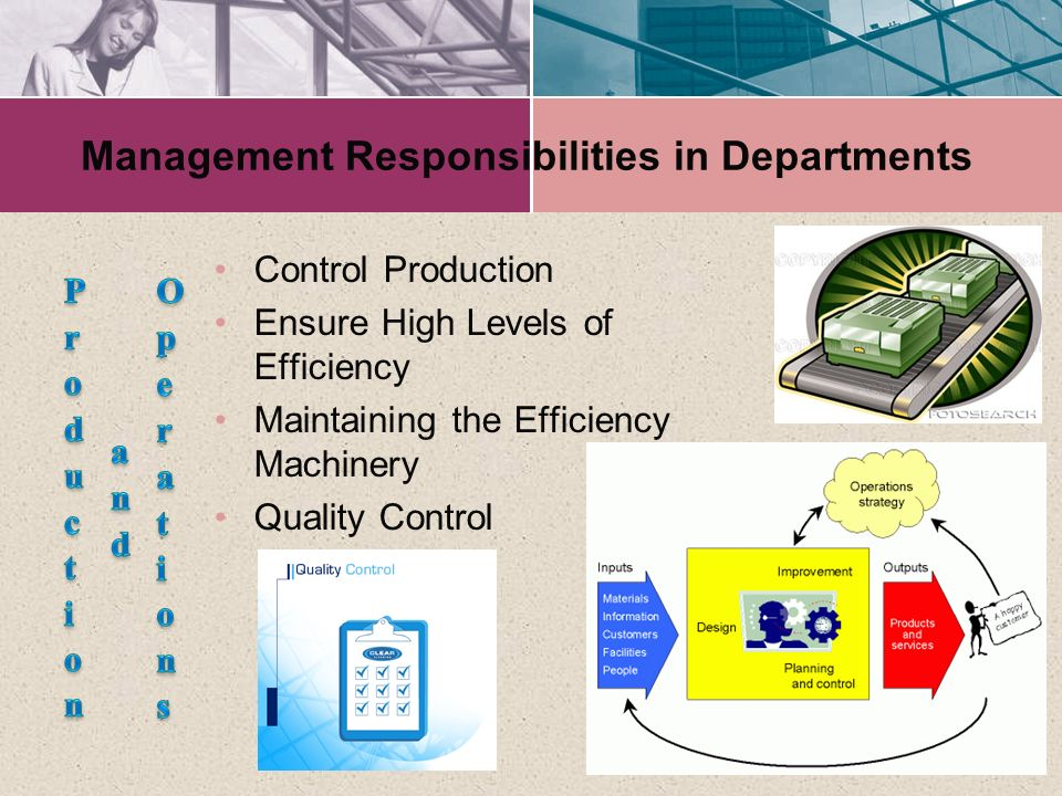 Management Responsibilities in Departments Control Production Ensure High Levels of Efficiency Maintaining the Efficiency Machinery Quality Control