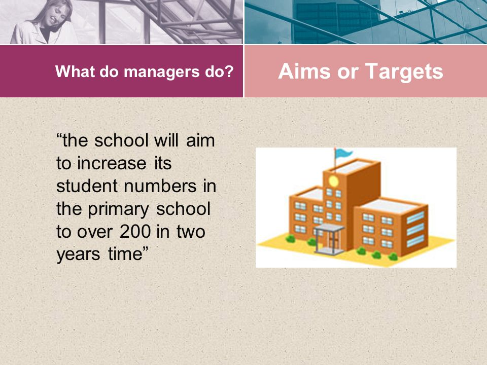 "What do managers do? ""the school will aim to increase its student numbers in the primary school to over 200 in two years time"" Aims or Targets"