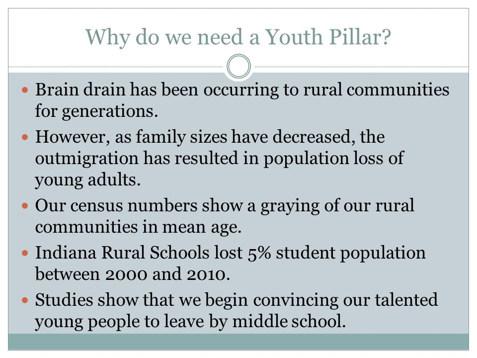 Why do we need a Youth Pillar. Brain drain has been occurring to rural communities for generations.
