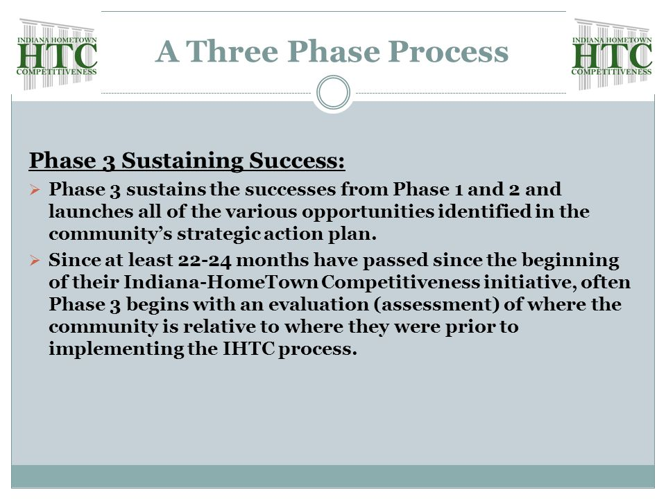 A Three Phase Process Phase 3 Sustaining Success:  Phase 3 sustains the successes from Phase 1 and 2 and launches all of the various opportunities identified in the community's strategic action plan.