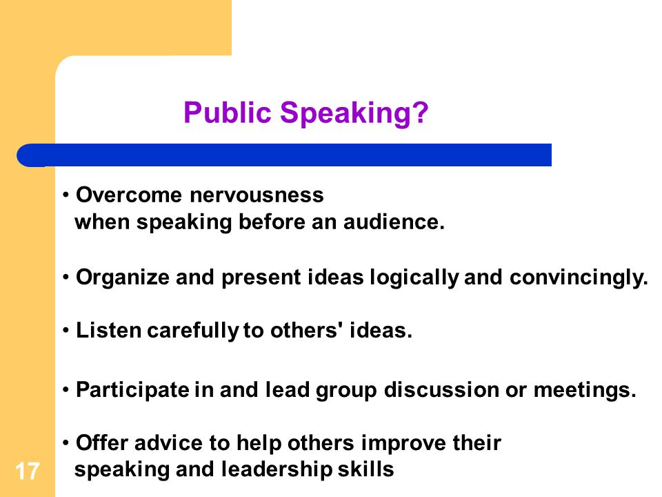 17 Participate in and lead group discussion or meetings.