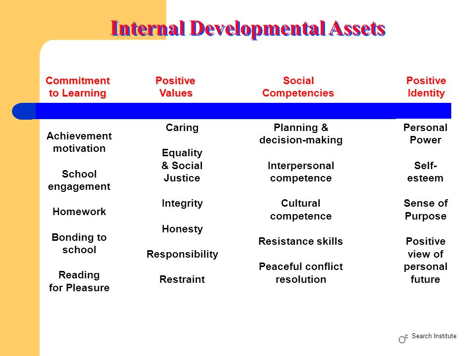 Internal Developmental Assets Commitment to Learning Positive Values Social Competencies PositiveIdentity Achievement motivation School engagement Homework Bonding to school Reading for Pleasure Caring Equality & Social Justice Integrity Honesty Responsibility Restraint Planning & decision-making Interpersonal competence Cultural competence Resistance skills Peaceful conflict resolution Personal Power Self- esteem Sense of Purpose Positive view of personal future c Search Institute
