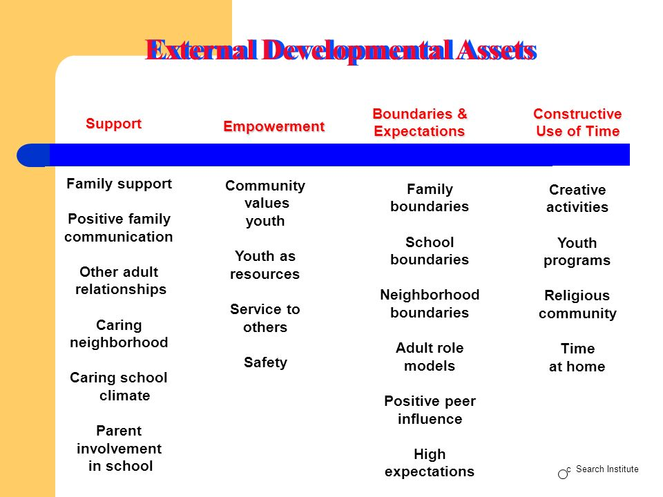 Support Empowerment Boundaries & ExpectationsConstructive Use of Time Family support Positive family communication Other adult relationships Caring neighborhood Caring school climate Parent involvement in school Community values youth Youth as resources Service to others Safety Family boundaries School boundaries Neighborhood boundaries Adult role models Positive peer influence High expectations Creative activities Youth programs Religious community Time at home External Developmental Assets c Search Institute
