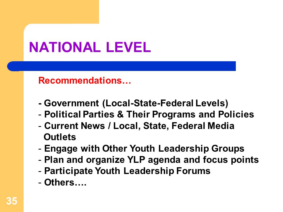 NATIONAL LEVEL 35 Recommendations… - Government (Local-State-Federal Levels) - Political Parties & Their Programs and Policies - Current News / Local, State, Federal Media Outlets - Engage with Other Youth Leadership Groups - Plan and organize YLP agenda and focus points - Participate Youth Leadership Forums - Others….