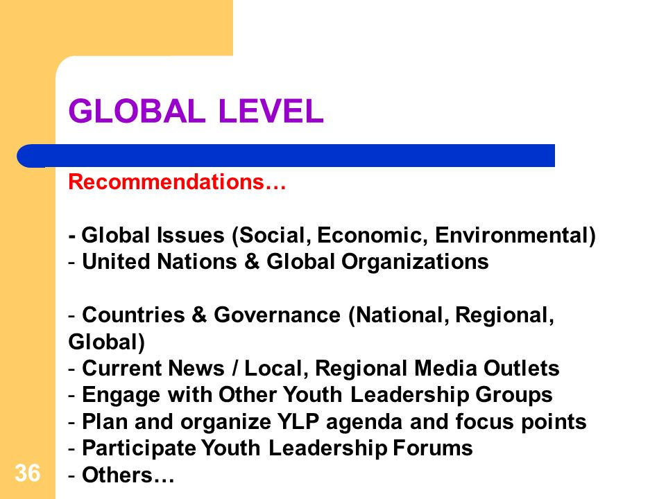 GLOBAL LEVEL 36 Recommendations… - Global Issues (Social, Economic, Environmental) - United Nations & Global Organizations - Countries & Governance (National, Regional, Global) - Current News / Local, Regional Media Outlets - Engage with Other Youth Leadership Groups - Plan and organize YLP agenda and focus points - Participate Youth Leadership Forums - Others…