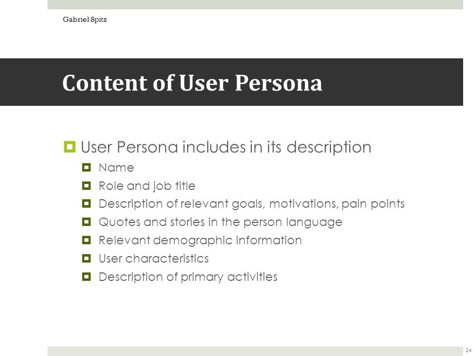 persona user story