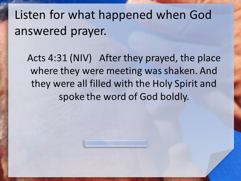 Listen for what happened when God answered prayer.