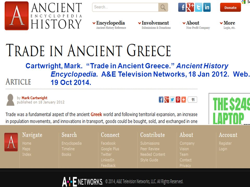 Cartwright, Mark. Trade in Ancient Greece. Ancient History Encyclopedia.