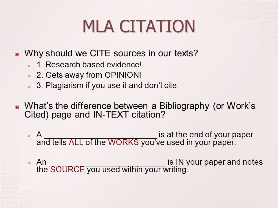 goals  identify mla in text citation  use mla citation in  mla citation  why should we cite sources in our texts