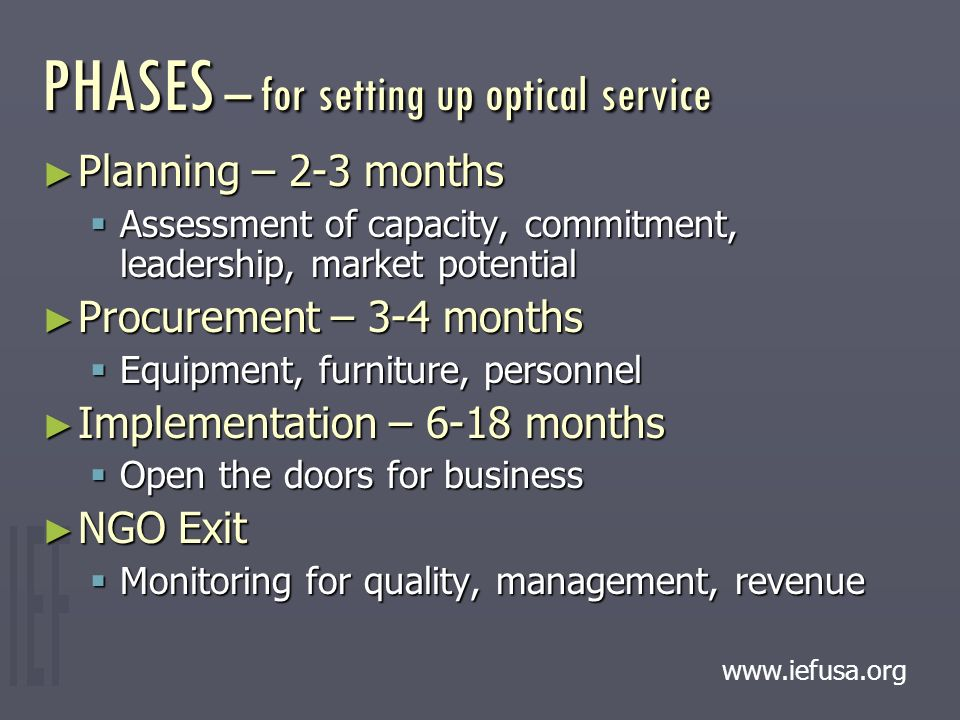 PHASES – for setting up optical service ► Planning – 2-3 months  Assessment of capacity, commitment, leadership, market potential ► Procurement – 3-4 months  Equipment, furniture, personnel ► Implementation – 6-18 months  Open the doors for business ► NGO Exit  Monitoring for quality, management, revenue