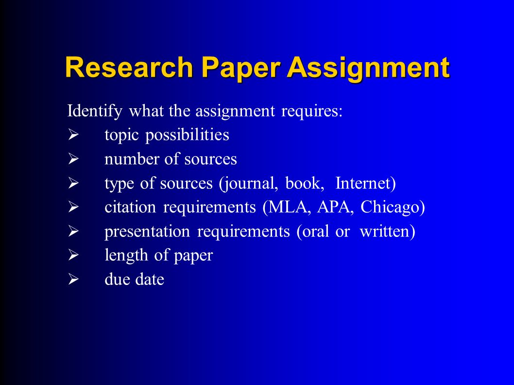 Whats a good research paper asignment?