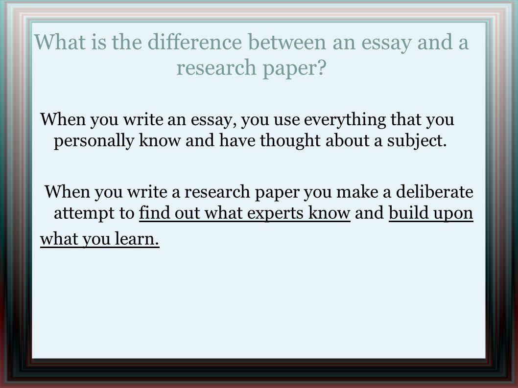 difference essay and paper In a comparison essay you should critically analyze any two subjects, finding and pointing out their similarities and/or differences at your paper to be certain.