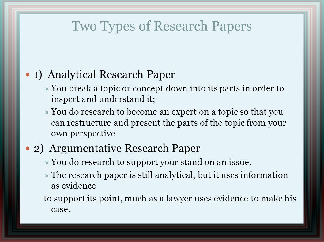 Research papers analytical