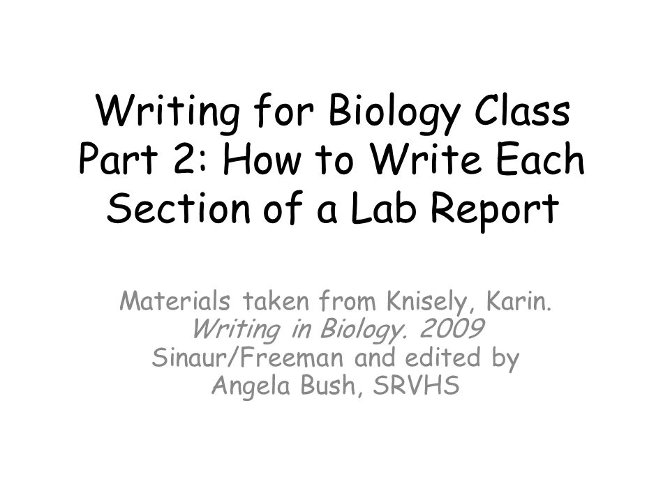 How to Write a Formal Lab Report - bioclassesucscedu