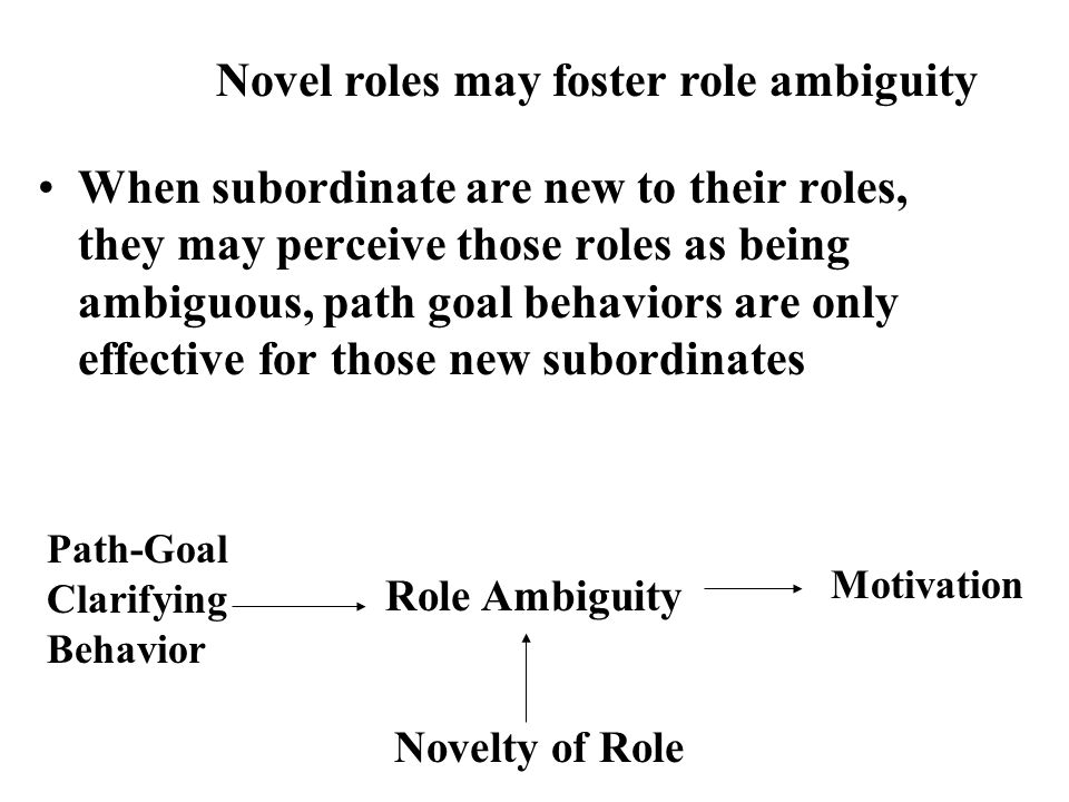 When subordinate are new to their roles, they may perceive those roles as being ambiguous, path goal behaviors are only effective for those new subord