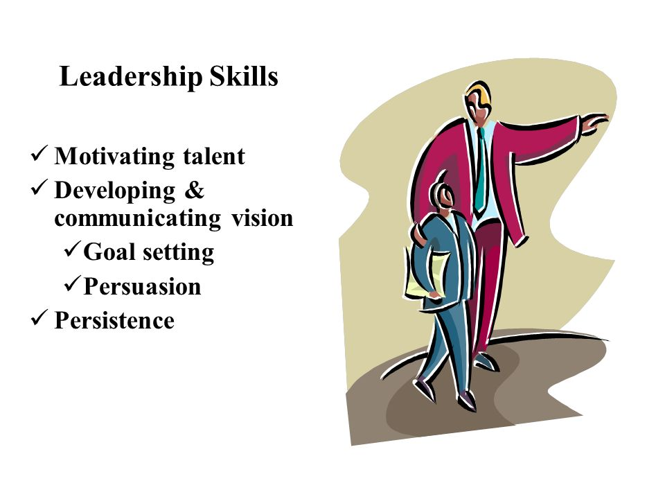 Motivating talent Developing & communicating vision Goal setting Persuasion Persistence Leadership Skills