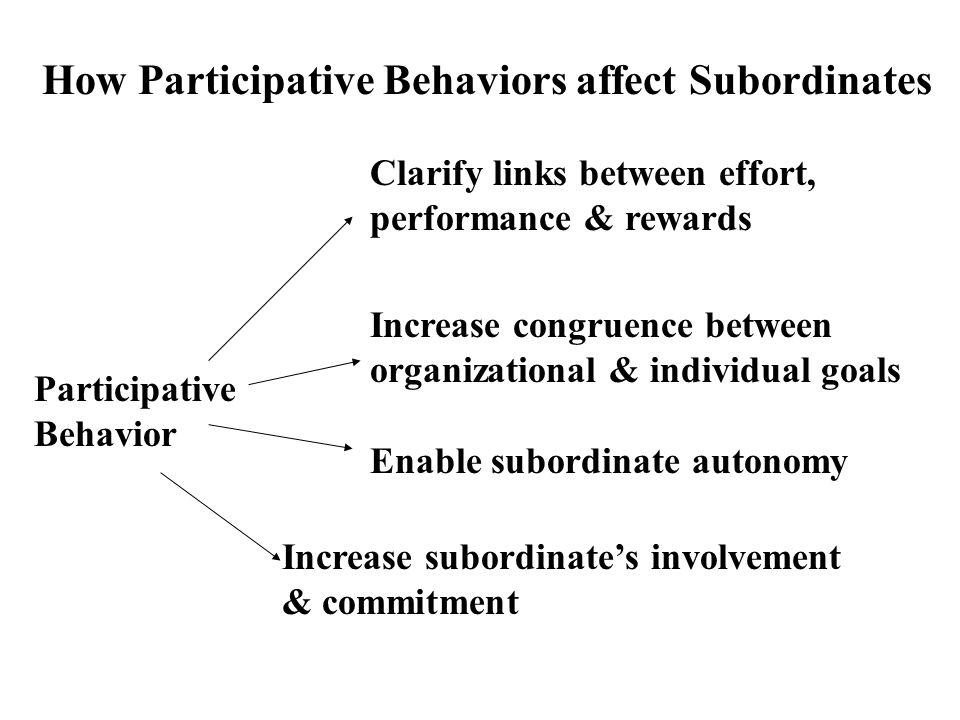 How Participative Behaviors affect Subordinates Participative Behavior Clarify links between effort, performance & rewards Increase congruence between
