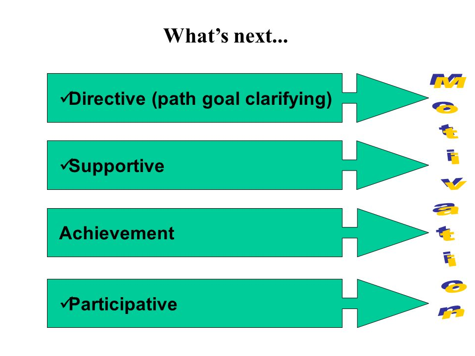 Directive (path goal clarifying) Supportive Achievement Participative What's next...