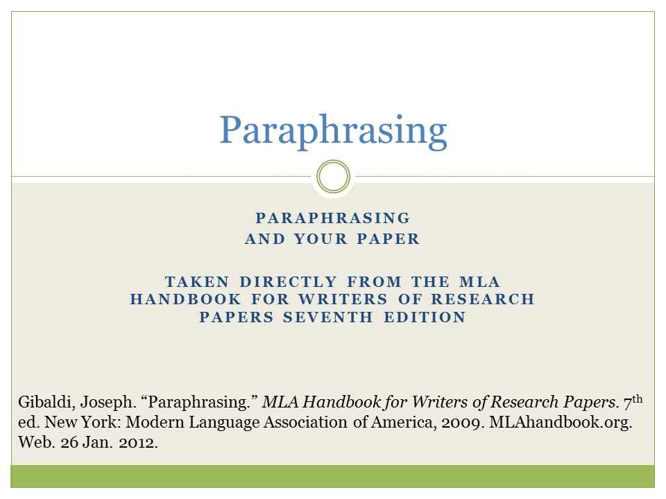 Joseph gibaldi mla handbook for writers of research papers